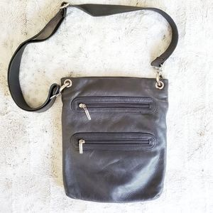 Margot Black Leather Multi Pocket Crossbody